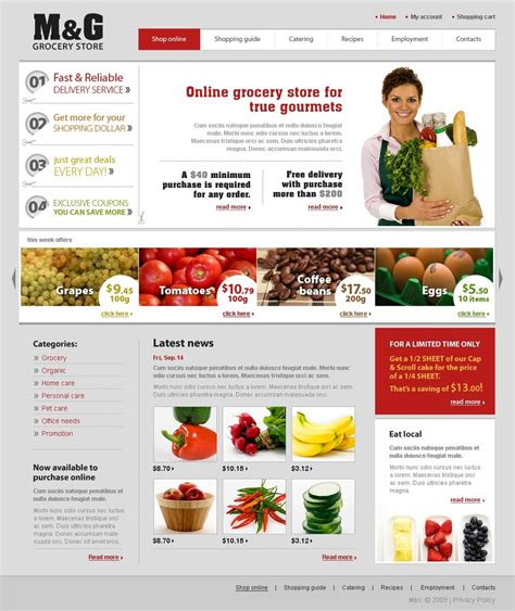 store website themes grocery store website template 26002