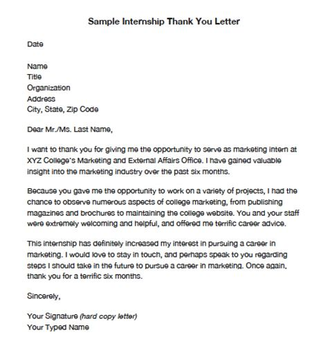 Thank You Letter Opening Lines Internship Thank You Letters Pdf Word Wikidownload