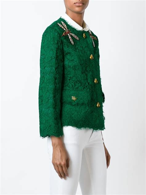 Lace Jacket Green dolce gabbana embellished lace jacket in green lyst