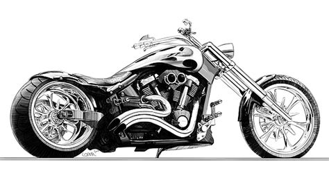 Motorrad Bilder Zeichnen by Chopper Pencil Sketch Digital By Konrad Labedz