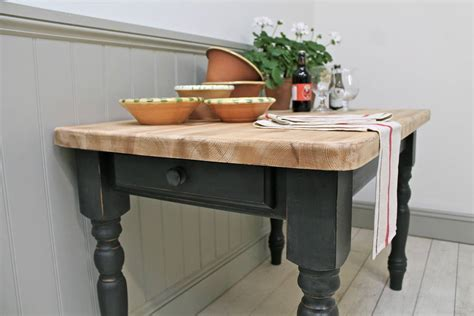 distressed painted pine farmhouse kitchen table by