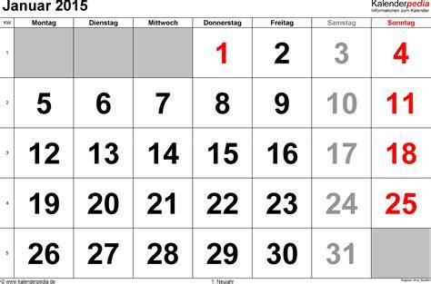 Kalender 2015 Januar Kalender Januar 2015 Als Excel Vorlagen