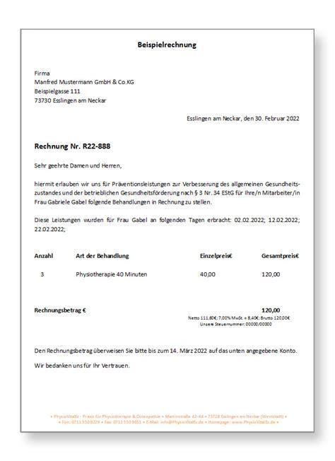 Muster Rechnung Heilpraktiker Physiotherapie F 252 R Firmen