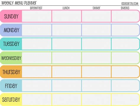 weekly menu planner meal planner templates pinterest weekly calendar template charts