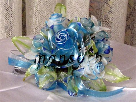 Kotak Akrilik Bunga Mawar Biru Preserved Flower Bunga Dip Bunga Dulang Biru