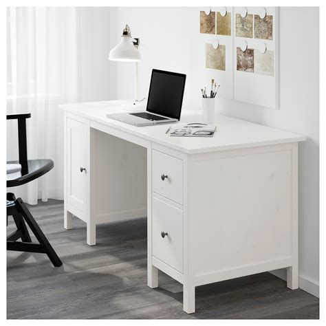 Hemnes Desk White Stain 155x65 Cm Ikea White Wood Desks