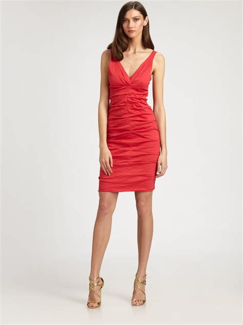 Nicoles Dress by Miller Ruched Dress In Watermelon Lyst