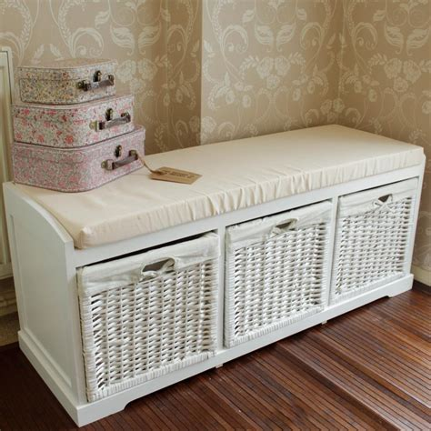 wicker storage benches white wooden storage bench melody maison 174