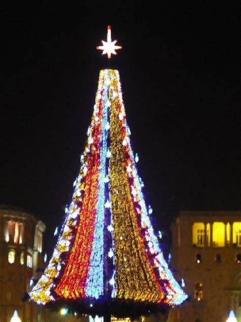 christmas tree on republic square in yerevan armenia photo