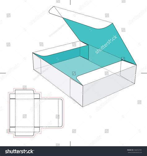 package design layout vector box flip lid blueprint layout stock vector 168252701