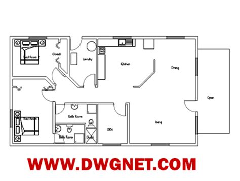 single story small house plans single story small house plan 04 dwg net cad blocks