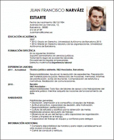 Modelo De Curriculum Vitae Empleado Administrativo Modelo Cv T 233 Cnico Jur 237 Dico Livecareer