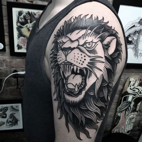 30 traditional lion tattoo designs for men retro big cat