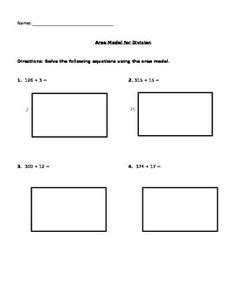 area model multiplication worksheets division using partial quotients and area model division homework and math