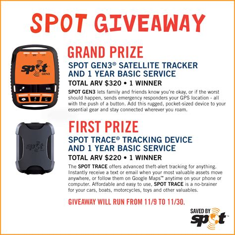 Giveaway Stuff - track you and your stuff with spot giveaway 2 winners 11 30
