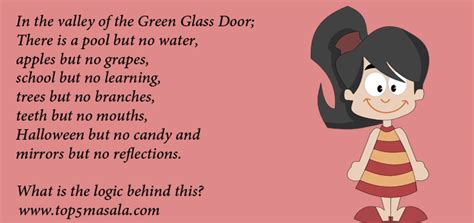 Logical Riddle In The Valley Of The Green Glass Door Green Glass Door Riddle Answer
