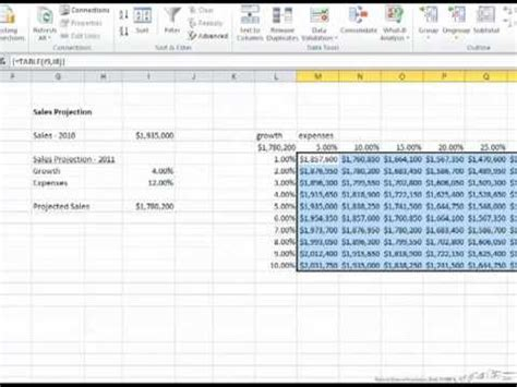 video tutorial excel data tables with two dependent