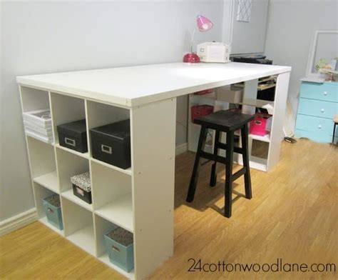 Diy Craft Room Table Craft Room Desk Cube Shelving Unit Craft Desk Diy