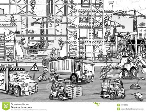 construction site coloring page with preview stock