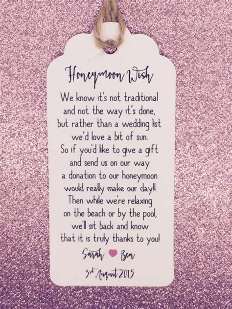 Wedding Honeymoon by Personalised Wedding Quot Honeymoon Money Request Poem Quot Card
