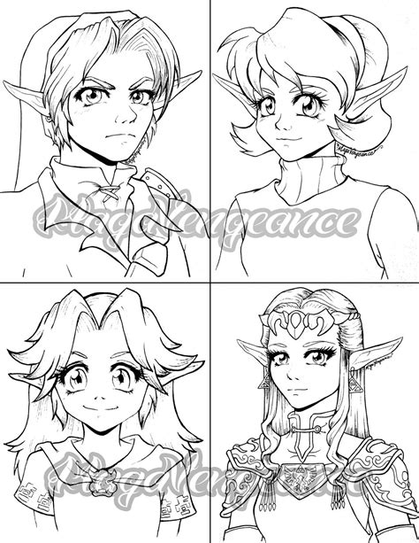 Legend Of Zelda Characters By Maga A7x On Deviantart Coloring Page Of Legend Of Ocarina Of Time