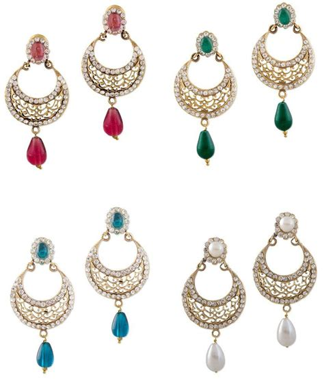 i like how they paired the pendants with a different but bazarvilla 4 pair fashion jewelry traditional earring set