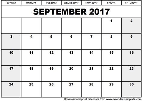Printable Calendar 2017 September | september 2017 calendar template
