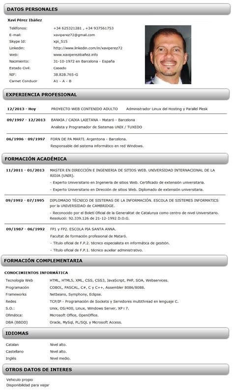 Plantilla De Curriculum Informatico Ejemplo De Curriculum Vitae Inform 225 Tico Xavi P 233 Rez