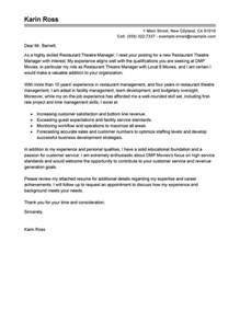 Theatre Cover Letter by Best Restaurant Theatre Manager Cover Letter Exles Livecareer