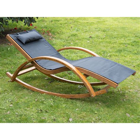Rocking Garden Lounger Outsunny Outdoor Rocking Mesh Recliner Reclining Wooden Patio Lounger W Cushion Ebay