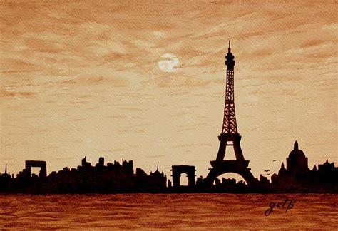 Paris Theme Bedroom paris silhouettes under moonlight coffee painting painting