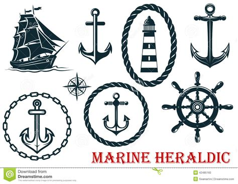 marine and nautical heraldic elements stock vector image