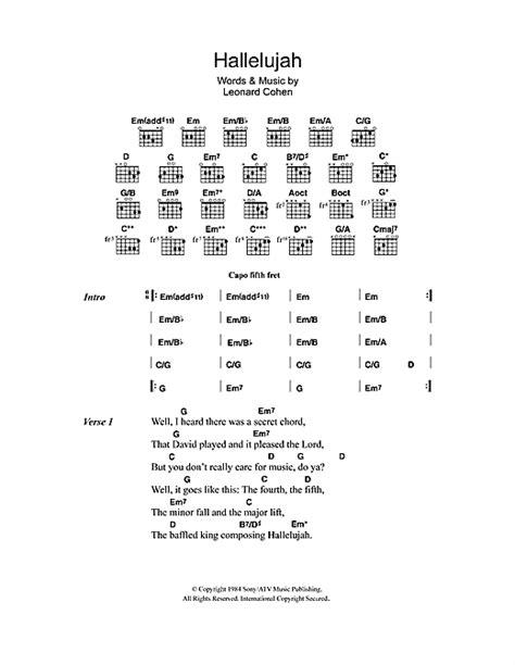 printable hallelujah lyrics jeff buckley hallelujah sheet music by jeff buckley lyrics chords