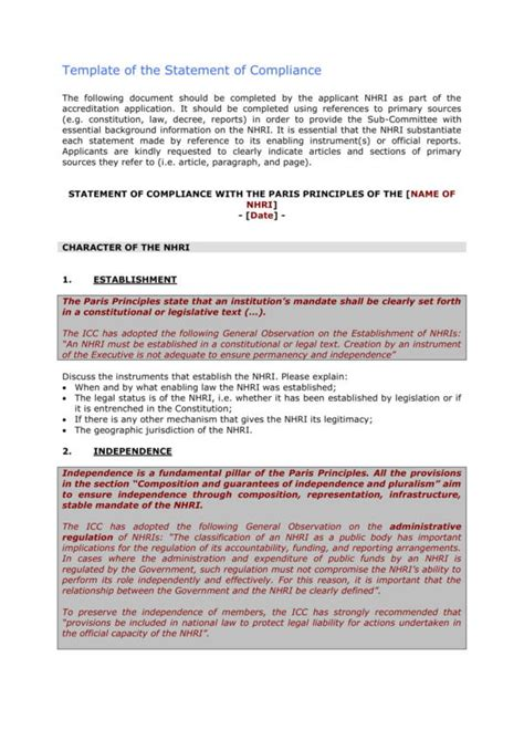 statement of conformity template 14 compliance statement sles templates pdf word
