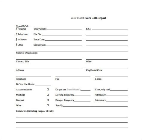 section 7 report exle sales call template template design