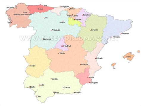 map of spain with cities spain political map