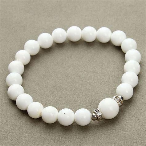 Handmade Stretch Bracelets - 2016 new 8mm white tridacna bracelet
