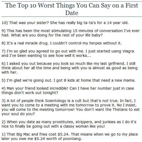 10 Things To Do On A Date fan page answers top 10 worst things you can say on a