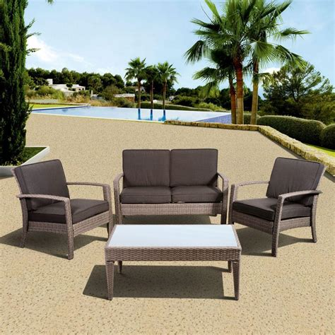 Patio Furniture Conversation Sets Atlantic Contemporary Lifestyle Florida Deluxe 4 All Weather Wicker Patio Conversation Set