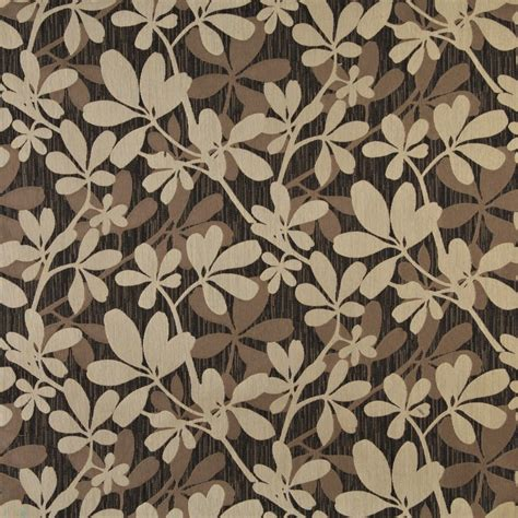 contemporary home decor fabric brown beige and midnight abstract leaves upholstery
