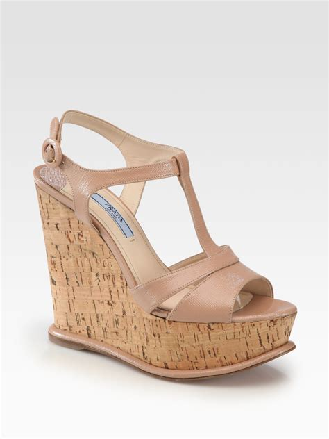 Sandal Wedges Prada Made In Italy lyst prada saffiano patent leather platform cork wedge sandals in brown