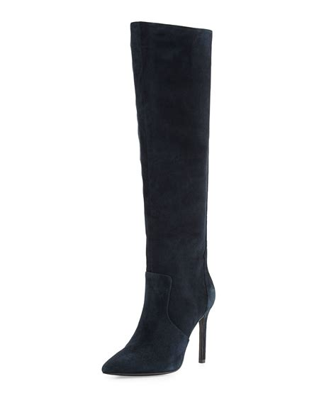 blue suede high heel boots charles david constance suede high heel boot in blue lyst