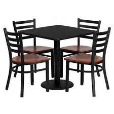 Restaurant table chairs 36 black laminate with 4 ladder back metal