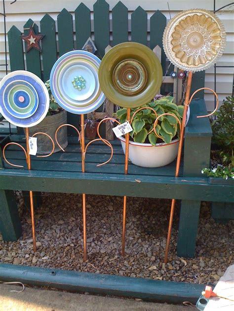 thrift store plates    life  garden art