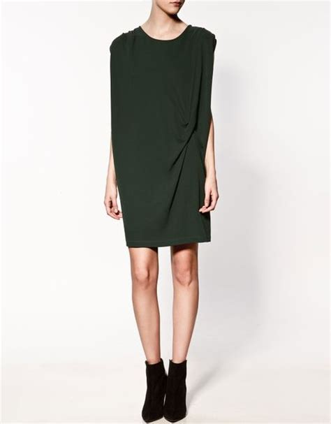 zara draped dress zara draped dress with knot in green lyst