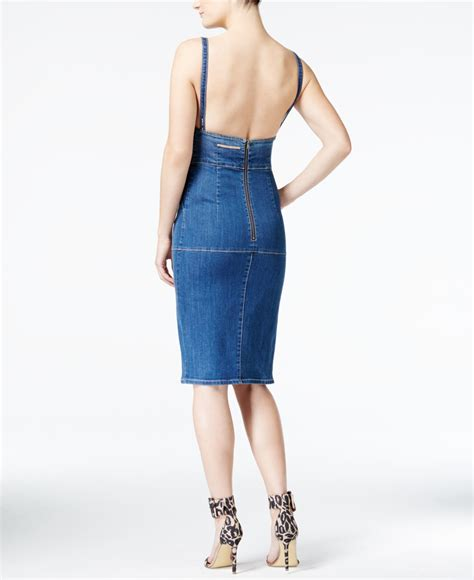 Guess Dress Spandek lyst guess denim bib dress in blue