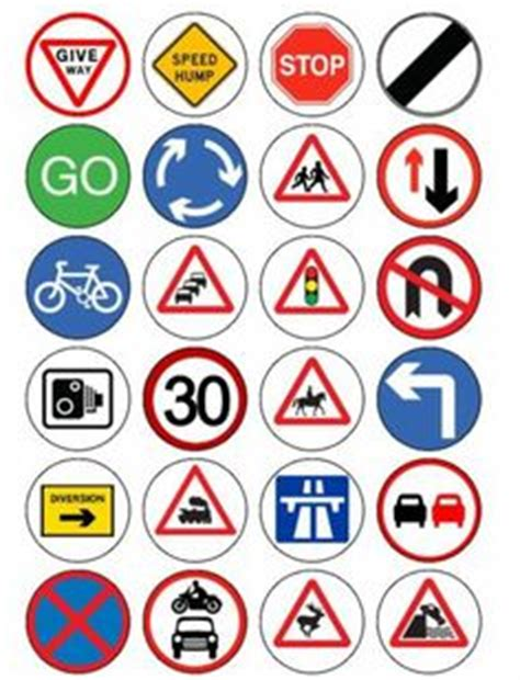 printable road sign flash cards uk 24 road traffic signs pre cut fairy cup cake edible rice