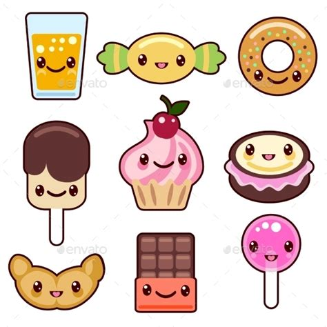 imagenes de comida chatarra kawaii candy kawaii food characters by neyro2008 graphicriver
