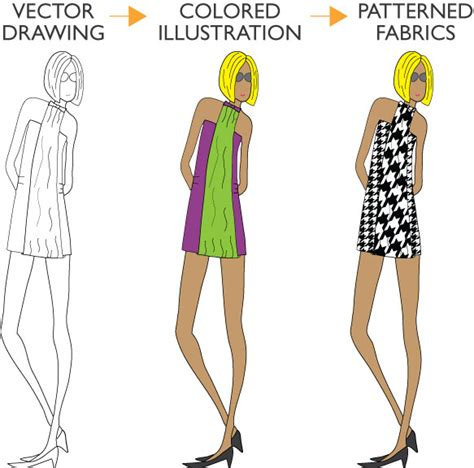 tutorial illustrator fashion design turn a vector drawing into a colored illustration then