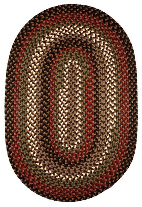 Oval Rugs 7x9 by Brown Fudge Rug Textured Braided Farmhouse Area Rugs